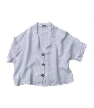 Pure Venice Short Linen Top - White **