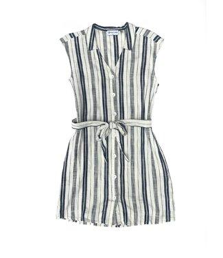 Point Zero Sleeveless Dress - White / Navy Striped