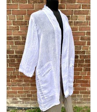 Click Long Linen Jacket - White **