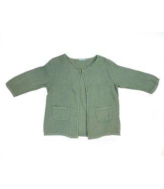 Angela Mara Linen Jacket - 3/4 sleeve - Green 20318AM **