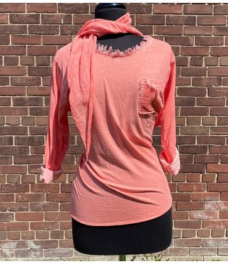Angela Mara Top with Scarf - Coral
