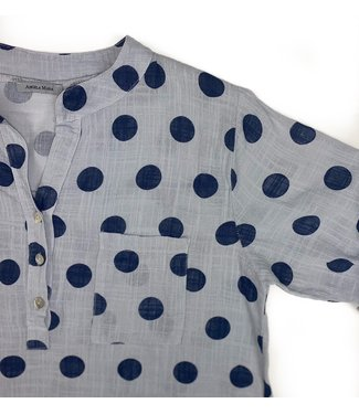 Angela Mara Roll Up Sleeve Shirt - Polka Dots