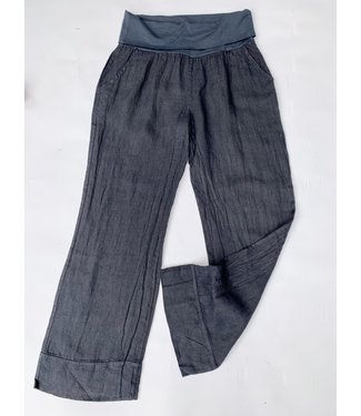 M Made in Italy Linen Woven Pants - Navy **