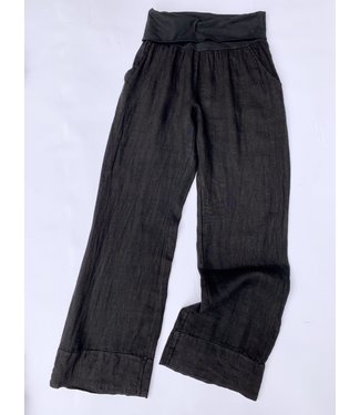 M Made in Italy Linen Woven Pants - Black **