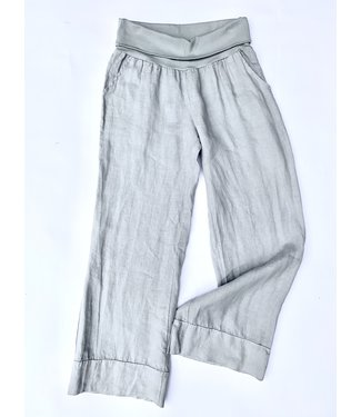 M Made in Italy Linen Woven Pants - Light Grey **