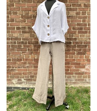 M Made in Italy Linen Woven Pants - Taupe**