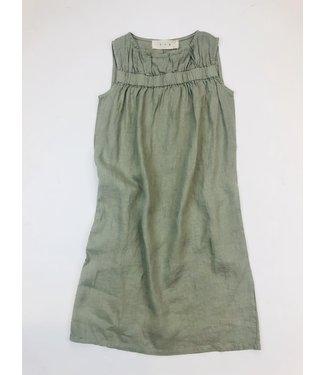 PAN Linen Dress with Top Gather - Khaki
