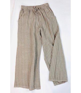 Angela Mara Striped Linen Pants - Stone Beige  **