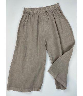 Angela Mara Wide Leg Linen Capri - Beige - 20630AM **
