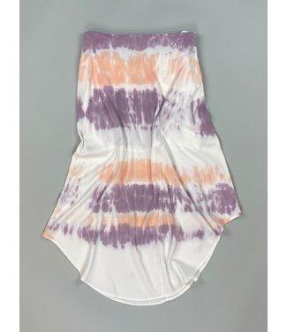 Mododoc Draped Skirt - White/Violet/Peach