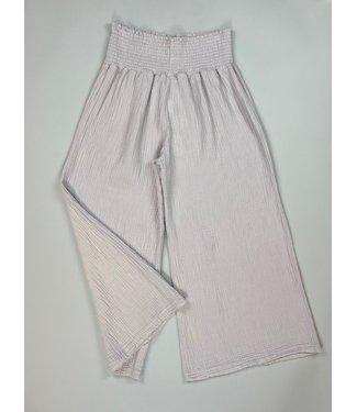 Mododoc Smocked Waist Cropped Pants - Light Grey