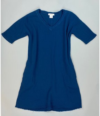 Mododoc Elbow Sleeve Blue Dress