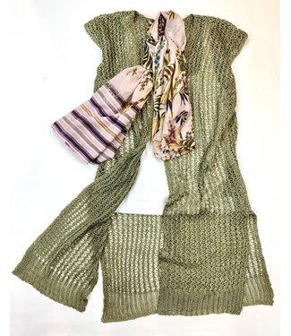 Cream Mugga Knit Open Vest - Olive