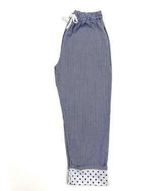 M Made in Italy Striped Pant with Polka Dot Cuff - Navy/White