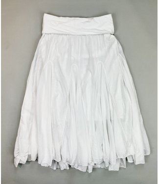 M Made in Italy Woven Skirt w Fold Down Waist - White