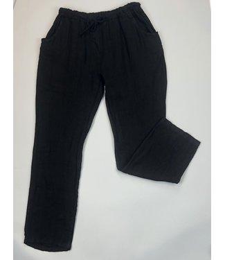 Angela Mara Drawstring Pants - Black