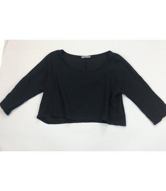 Angela Mara Elbow Sleeve T-Shirt - Black