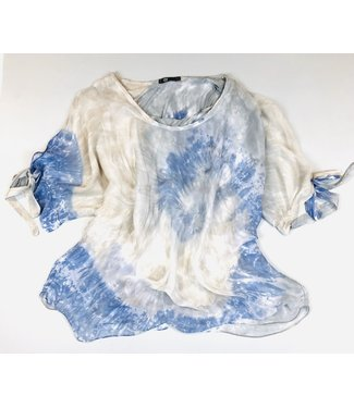 M Made in Italy Silk Tie-Dye Top - Jean Combo