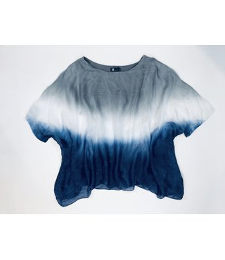 M Made in Italy Tie Dye Blouse - Navy/White/Grey