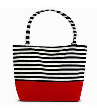 Striped Tote - with Red Bottom