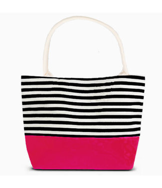 Striped Tote - with Pink Bottom