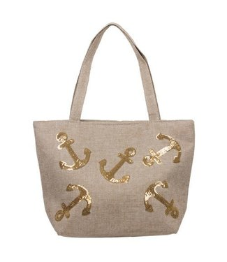 Tote with Gold Sequins Anchors