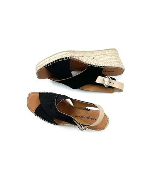 David Tyler Wedge Sandals - Black
