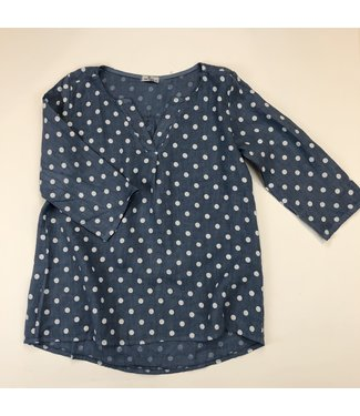 Pure Venice Tunic Blouse - Blue / White Polka Dots