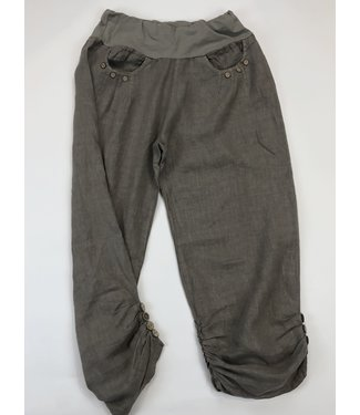 Pure Venice Linen Pants with Button Ruched Cuff