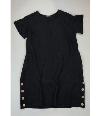 Pure Venice Linen Dress with Buttons - Black