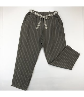 Pure Venice Linen Pants - Taupe with Gold Stripes