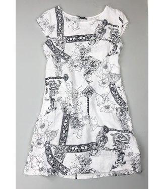 Angela Mara Cap Sleeve Side Rib Dress - Black/White
