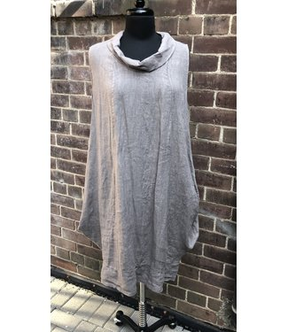 Angela Mara Sleeveless Cowl Neck Dress - Fango