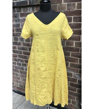 Angela Mara V-Front S/S A-Line Dress - Turmeric