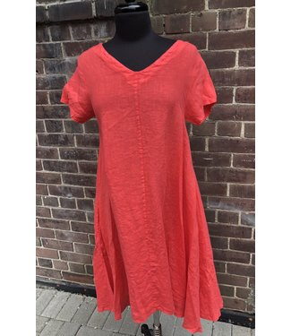 Angela Mara V-Front S/S A-Line Dress - Tangerine