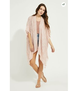 Gentle Fawn Open Vest with Tassels - Pink Palm