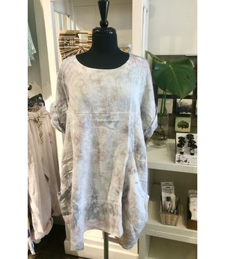Pure Venice Tie Die Dress - Pink and Grey