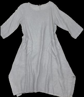 Pure Venice 3/4 Sleeve Flared Pocket Dress - Grey