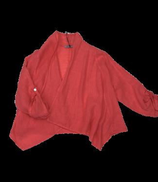 Angela Mara Roll-up Sleeve Bolero - Tangerine