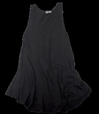 Angela Mara V-Neck A-Line Sleeveless Tank Top - Black