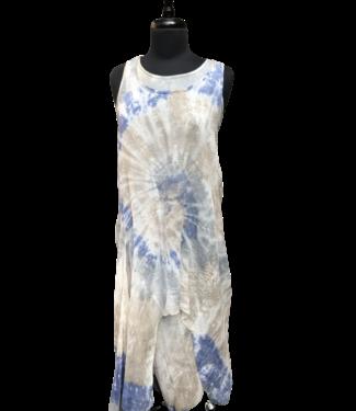 Angela Mara Tie Dye Double Layer Dress - Denim Blue