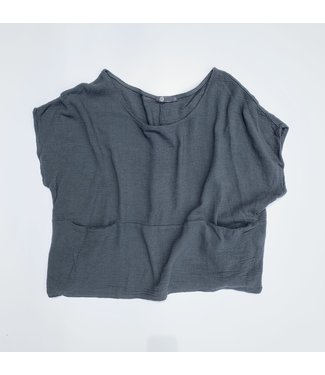 M Made in Italy S/S  Scoop Neck Cotton Top - Anthracite