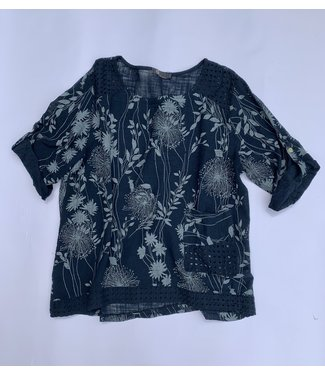 M Made in Italy Woven Top with Lace Detail - Navy Print