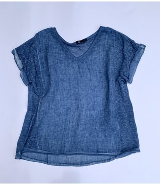 M Made in Italy Cuffed S/S w/Sheer Knit Insert - Jean