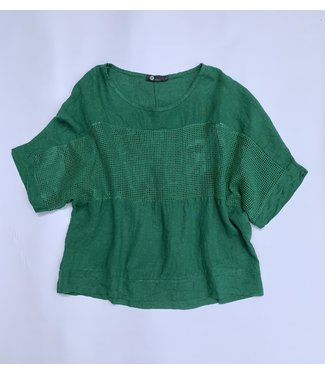 M Made in Italy Drop Sleeve Top with Net Panel - Green