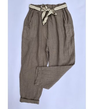 M Made in Italy Cuffed Linen Pant w/ Waist Tie - Taupe
