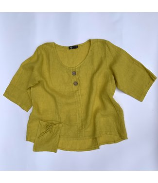 M Made in Italy Scoop Neck Top with Flap Pocket - Yellow