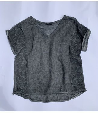 M Made in Italy Cuffed S/S w/Sheer Knit Insert - Charcoal