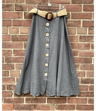 M Made in Italy Button Down Skirt w/Belt - Anthracite