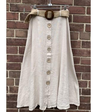 M Made in Italy Button Down Skirt w/Belt - Beige